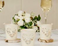 Stunning Set of 12 Cream Shabby Chic 'Hearts' Wedding Table Decor Candle Holders